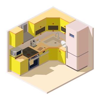 Isometrische keuken kamer met meubels en huishoudelijke apparaten