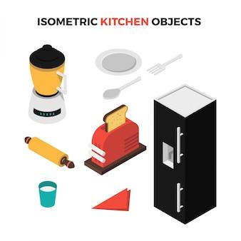 Isometrische keukenobjecten