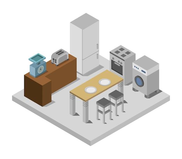 Isometrische keukenruimte