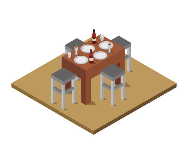 Isometrische keukentafel