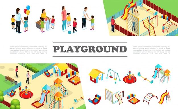 Isometrische kinderen speeltuin elementen collectie met glijbanen schommels speelhuisje wip ladders zandbak kleurrijke bars ouders met kinderen