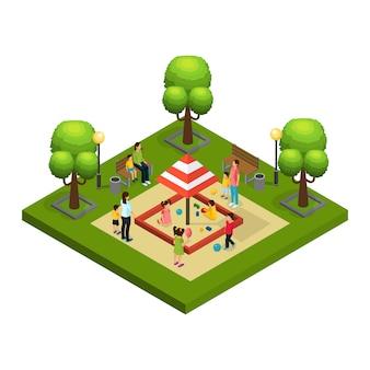 Isometrische kindermeisjes en kinderen concept