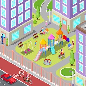 Isometrische kinderspeelplaats in de stad