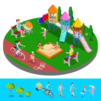 Isometrische kinderspeelplaats in het park met mensen, glijbaan en zandbak.