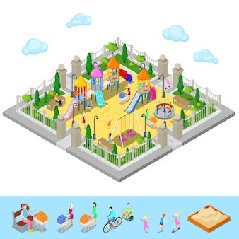 Isometrische kinderspeelplaats in het park met mensen, sweengs, carrousel, glijbaan en zandbak