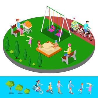 Isometrische kinderspeelplaats in het park met mensen, sweengs en zandbak.