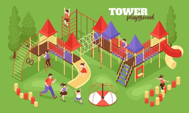Isometrische kinderspeelplaatscompositie met tekst en buitenlandschap met menselijke karakters van rennende kinderenillustratie