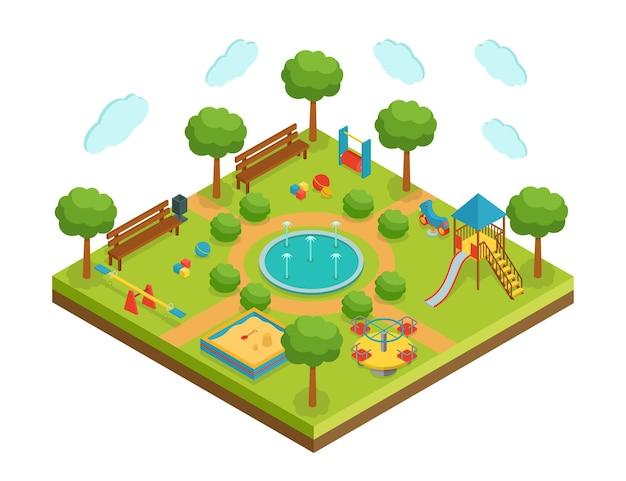 Isometrische kinderspeeltuin met fontein, vectorillustratie