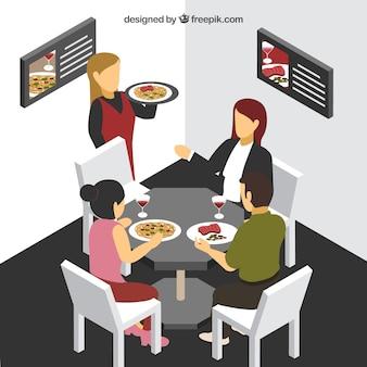 Isometrische klanten en ober in restaurante