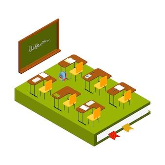 Isometrische klas. school kamer met schoolbord, lessenaars en stoelen 3d illustratie