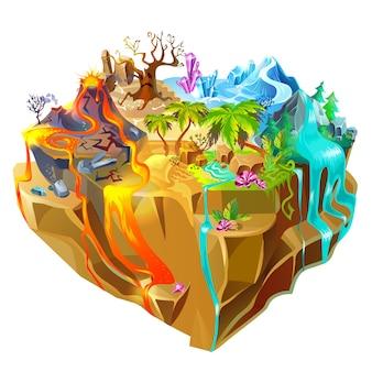 Isometrische kleurrijke game island Gratis Vector