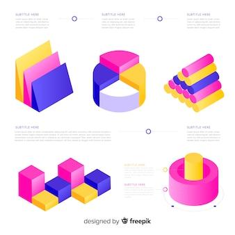 Isometrische kleurrijke infographic elementeninzameling
