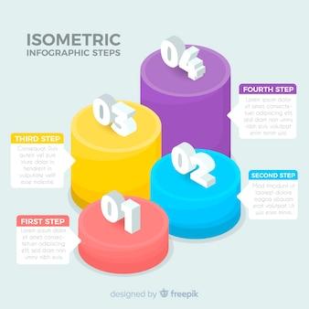 Isometrische kleurrijke infographic stappeninzameling