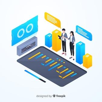 Isometrische kleurrijke monitoring infographic sjabloon