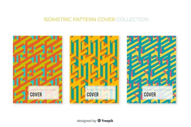 Isometrische kleurrijke patroon brochure pack