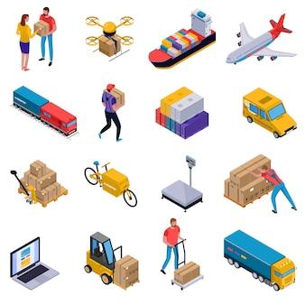 Isometrische kleurrijke reeks pictogrammen met de laders van het leveringsvervoer en koeriers aan het werk dat op wit wordt geïsoleerd