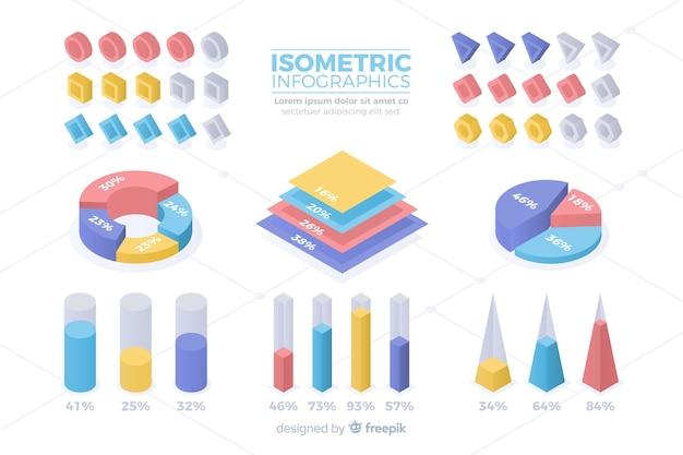 Isometrische kleurrijke statistieksjabloon collectie