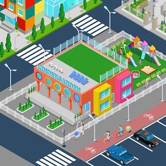 Isometrische kleuterschool met speeltuin en kinderen.