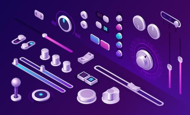 Isometrische knoppen bedieningspaneel interface-elementen voor muziekspeler