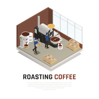Isometrische koffie branden