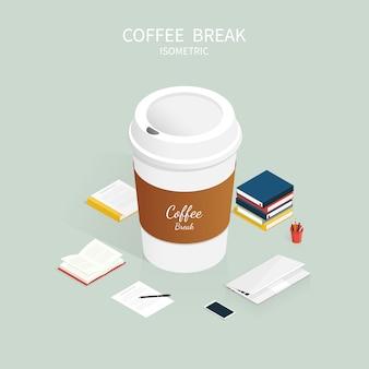 Isometrische koffiepauze, kopje koffie café vector