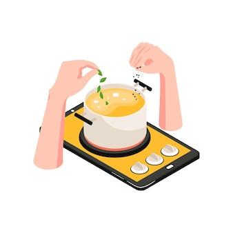 Isometrische kookschool concept illustratie met gadget en pan soep 3d