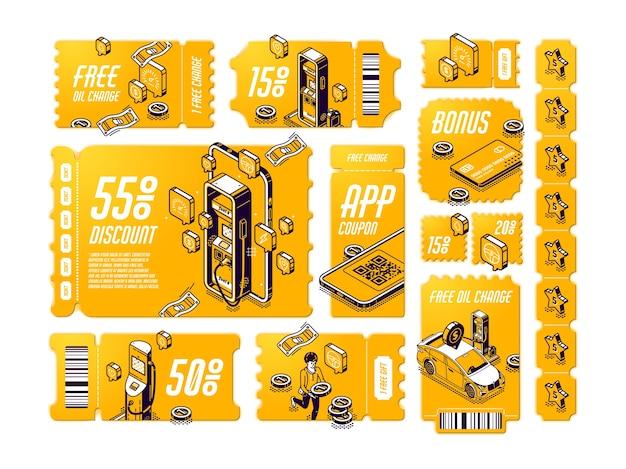 Isometrische kortingsbonnen voor gratis olieverversing