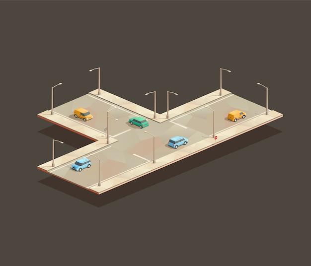 Isometrische kruising met drie richtingen
