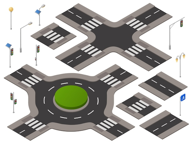 Isometrische kruispunten ingesteld. 3d infrastructuur van het wegvervoer, stedelijk landschap