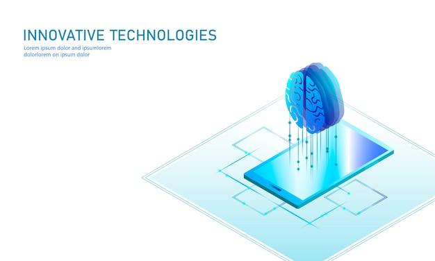 Isometrische kunstmatige intelligentie bedrijfsconcept. blauwe gloeiende isometrische online onderwijs web leren pc smartphone menselijk brein toekomstige technologie. 3d infographic illustratie