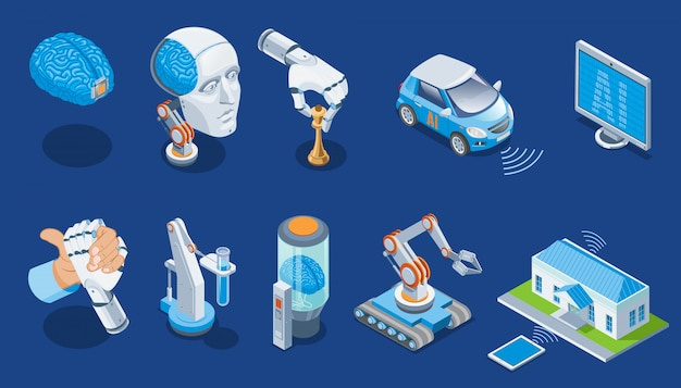 Isometrische kunstmatige intelligentie set met menselijk brein robotarm schaken monitor elektrische auto medische industriële robots slimme huis geïsoleerd