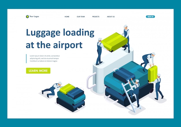 Isometrische laadbagage op de luchthaven, vervoer van bagage op het vliegtuig landingspagina