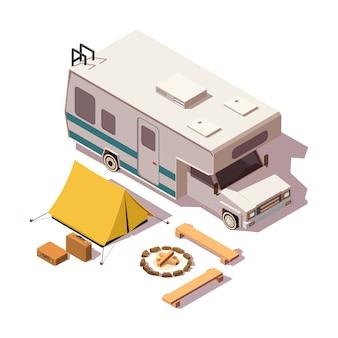 Isometrische laag poly camper en kampeeruitrusting