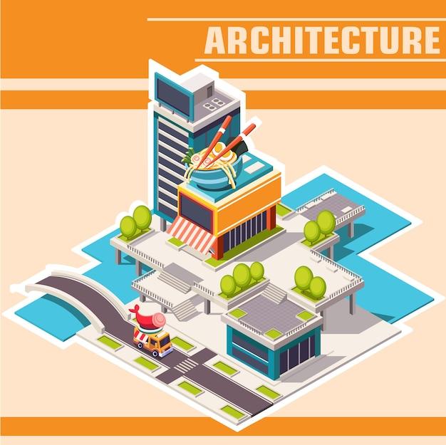 Isometrische laag poly stadsstraat met gebouwen, winkels en café aan de rivier