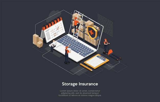 Isometrische lading verzekering concept.