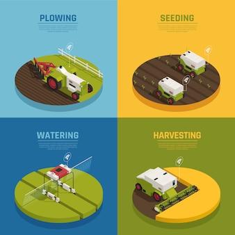 Isometrische landbouwautomatisering banner collectie