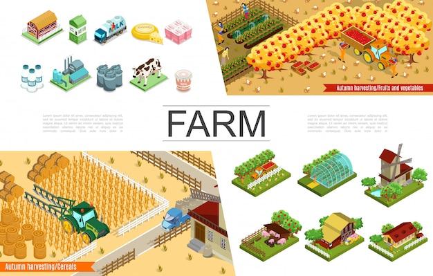 Isometrische landbouwelementen collectie met boerderijen windmolen oogsten boeren broeikasgassen dieren bomen landbouwvoertuigen zuivelfabriek en producten