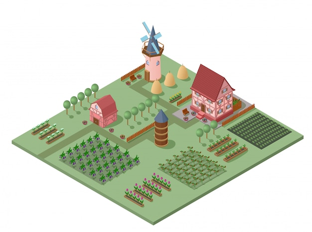 Isometrische landbouwlandschapssjabloon
