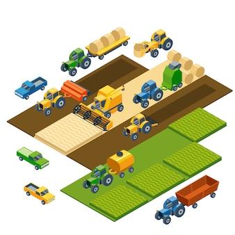 Isometrische landbouwmachines, landbouwtractoren, combain, aanhangwagens en pick-up. transport pick-up, veld natuur landschap, oogst en graan, gazon en tarwe.