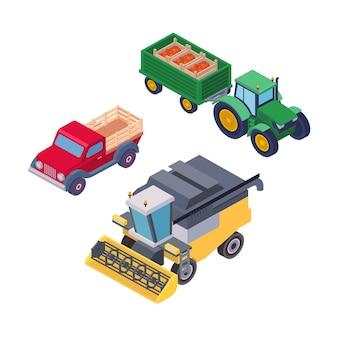 Isometrische landbouwmachines voor veldwerk geïsoleerde set. trekker op wielen met aanhangwagen, pick-up en maaidorser vectorillustratie. bedrijfsvoertuigen voor landbouwbedrijven op het platteland