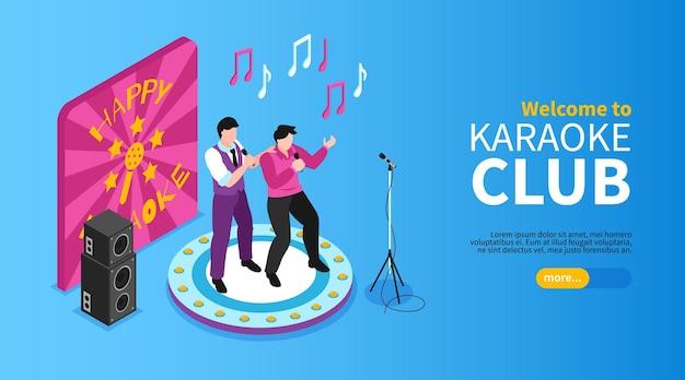 Isometrische landingspagina van de karaoke horizontale banner