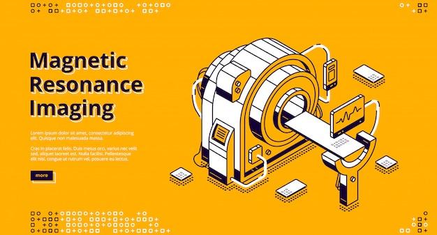 Isometrische landingspagina voor magnetische resonantiebeeldvorming.