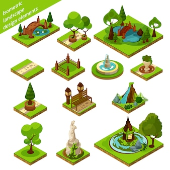 Isometrische landschapsontwerpelementen