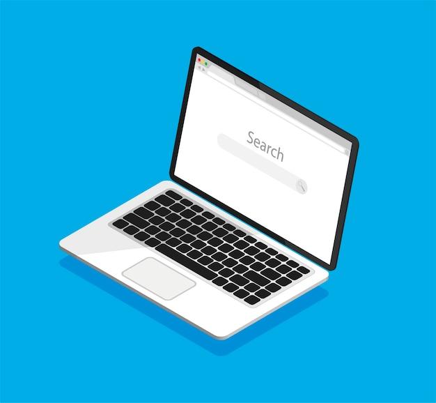 Isometrische laptop en internet browservenster op het scherm. lege webbrowser in een vlakke stijl.