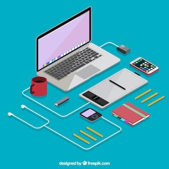 Isometrische laptop met elektronische apparaten