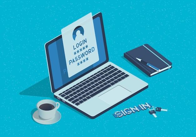 Isometrische laptop met login en wachtwoordformulier