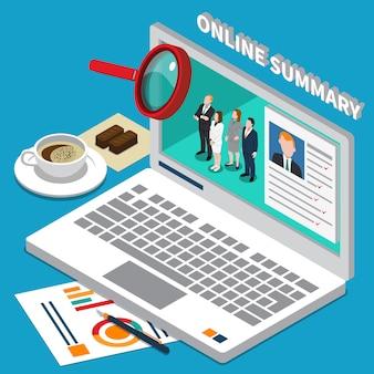 Isometrische laptop met online samenvatting