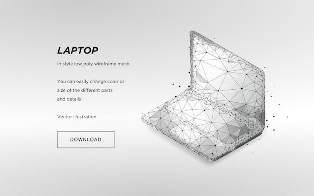 Isometrische laptop op wit