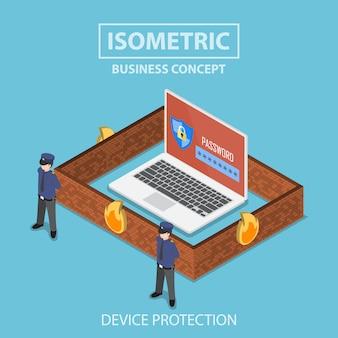 Isometrische laptopcomputer beschermd door beveiligingssysteem