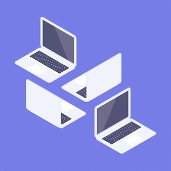 Isometrische laptops klaar om te werken. voor- en achteraanzicht. isometrische notebooks instellen. computerapparaten die op een witte achtergrond worden geïsoleerd. 3d-realistische gadgets.